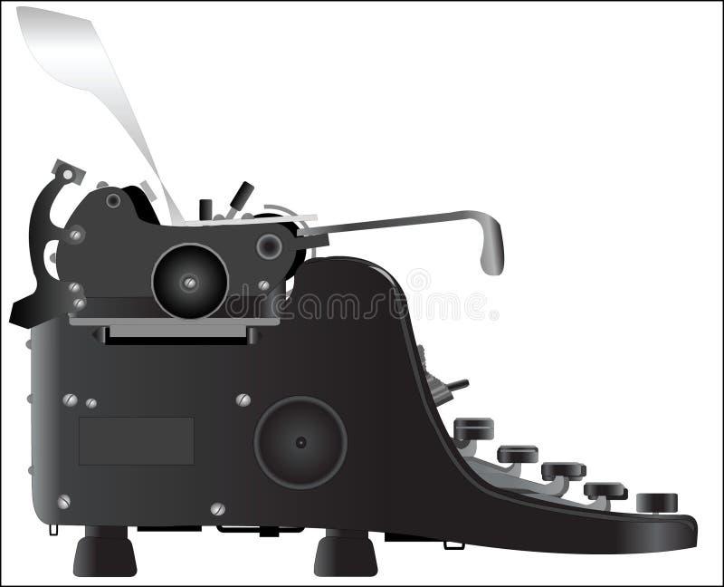 Old typewriter. Profil art illustration vector illustration