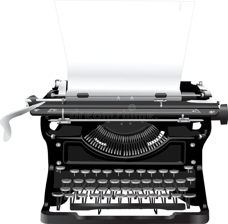 Old typewriter. With a paper royalty free illustration