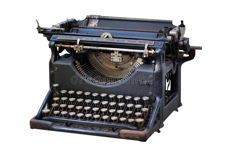 Old typewriter. Isolated on white royalty free stock photo