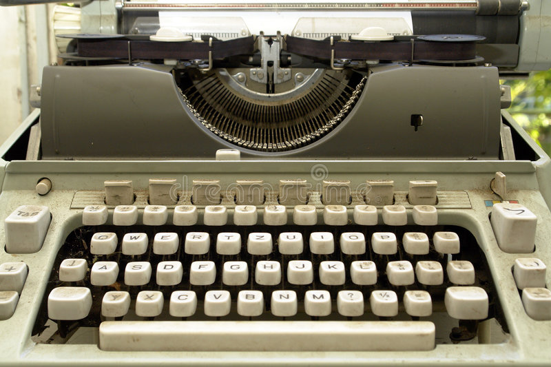 Old Typewriter. Closeup of letter and signs on old typewriter royalty free stock images