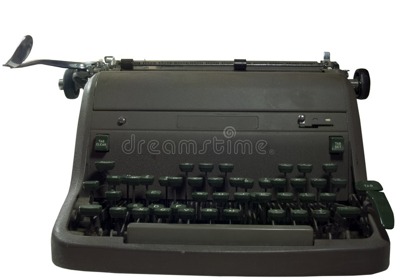 Old Typewriter. A well used ancient antique green typewriter stock photography