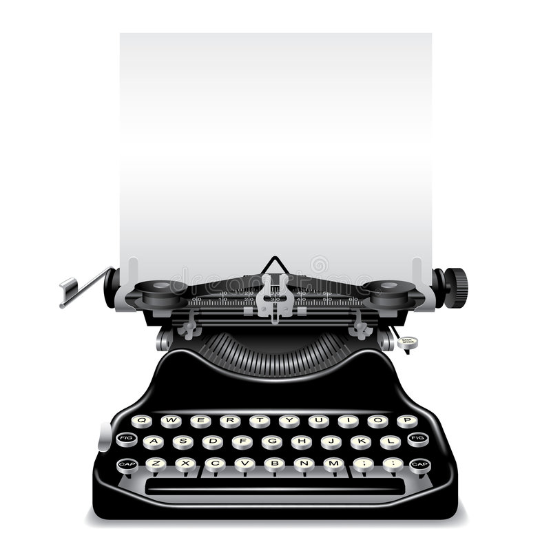 Old typewriter. Isolated raster version of vector old typewriter with a paper (contain the Clipping Path) There is in addition a vector format (EPS 8