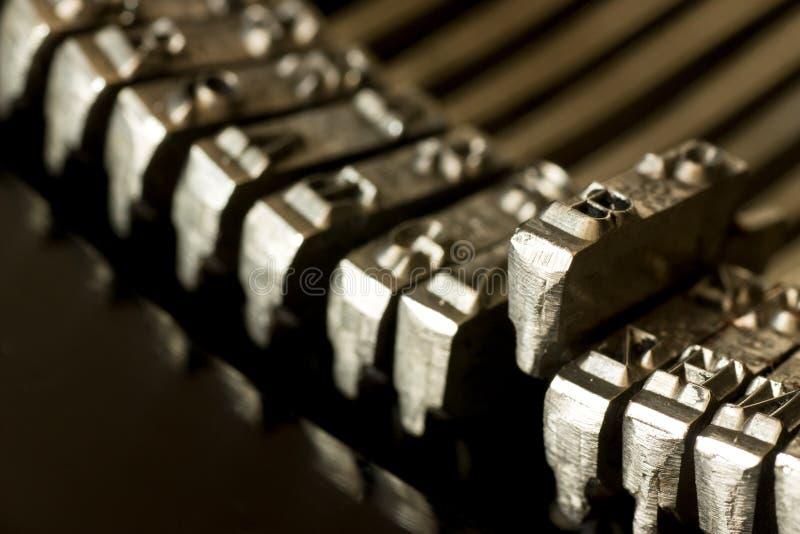 Old typewriter. Closeup of vintage typewriter keys stock image