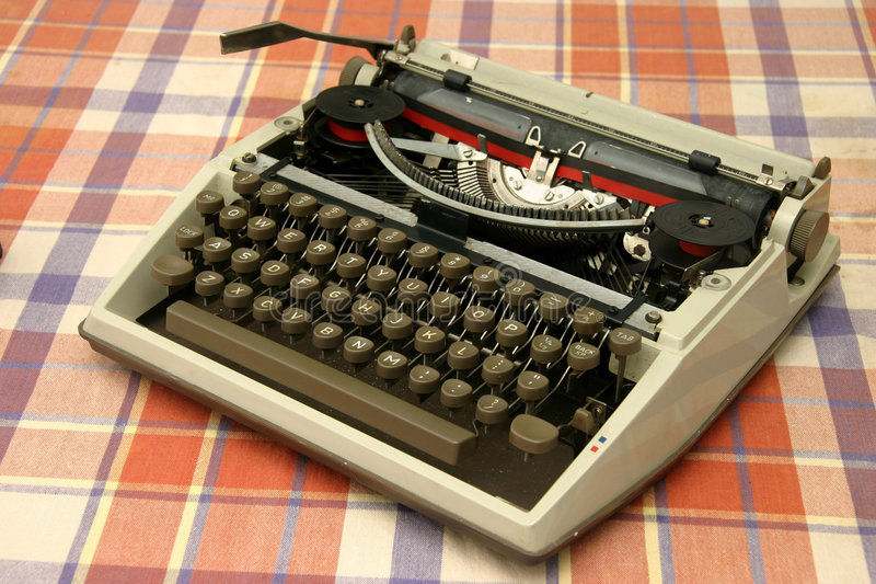 Old typewriter. Old mechanical typewriter with ribbon and ink royalty free stock photos