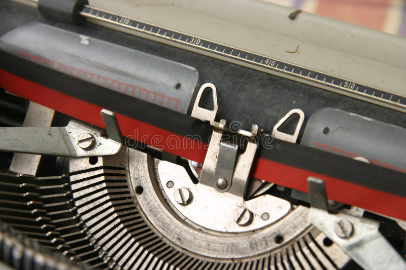 Old typewriter. Old mechanical typewriter with ribbon and ink royalty free stock images