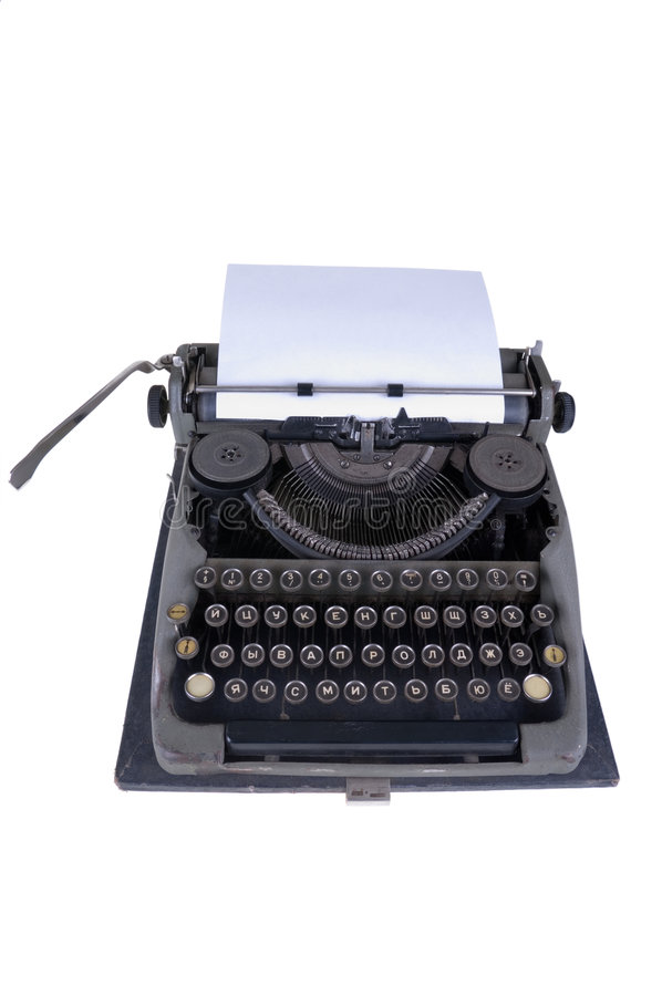 The old typewriter. On a white background stock image