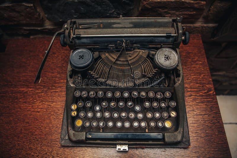 Old typewriter. Antique typewriter with Cyrillic script stock photo