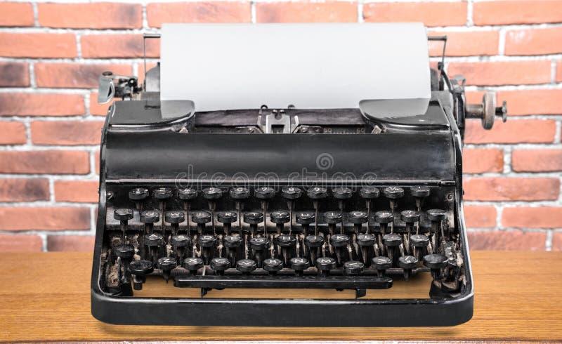 Old typewriter. Black german journalist write mechanical macro stock images