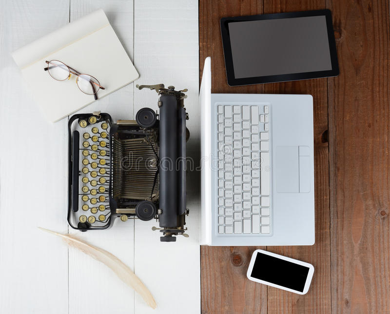 Old Typewriter and Computer royalty free stock images
