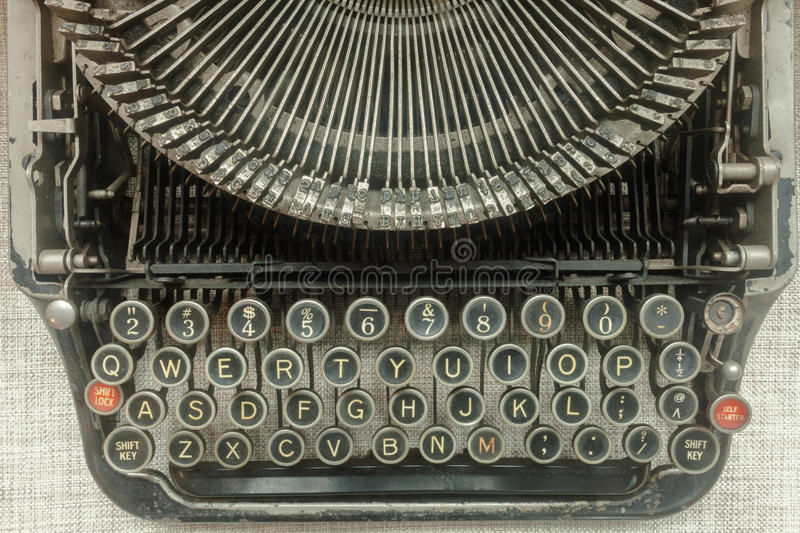 Old typewriter. This is the exhibition hall of an old typewriter stock image