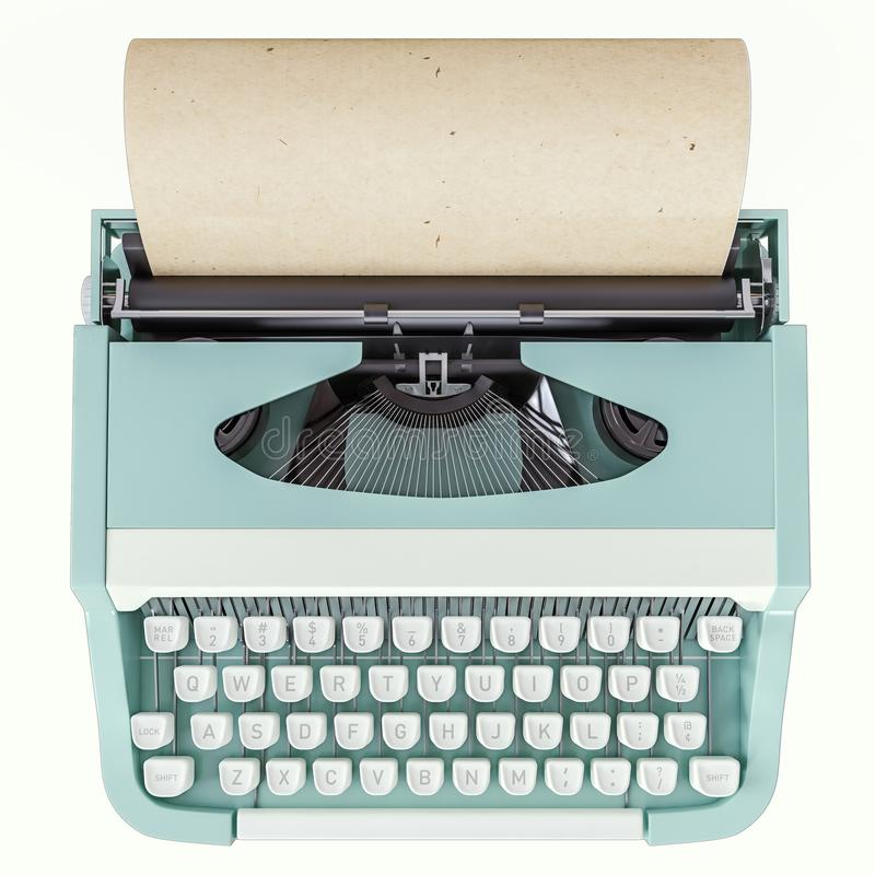 Old typewriter isolated on white, concept of writing, journalism, creating a document, nostalgia. 3d rendering royalty free illustration