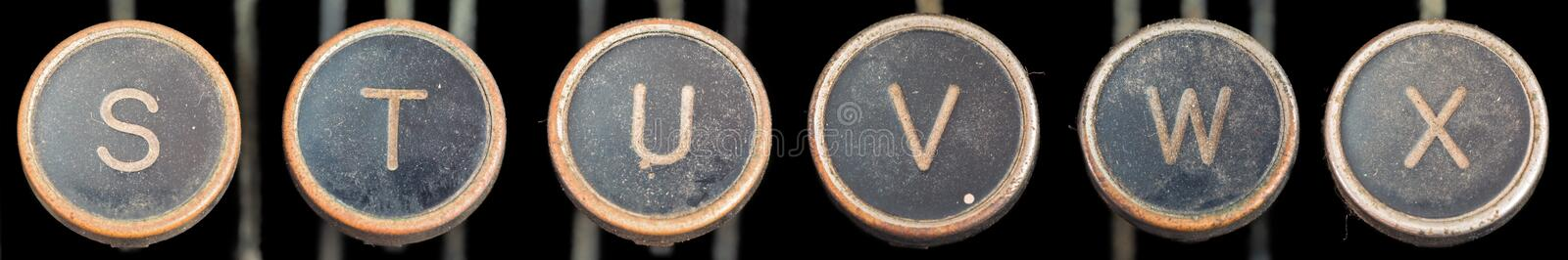 Old Typewriter Keys S-X. Covered in grit and grime - letters S,T,U,V,W,X - six images merged stock photos