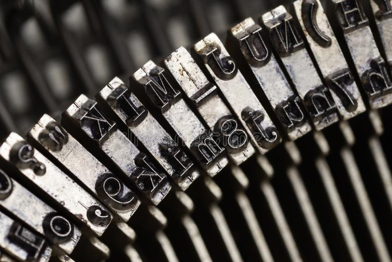 Old typewriter letters macro shot stock photos