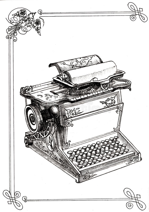 Old Typewriter with monograms. Linear hand graph stock illustration