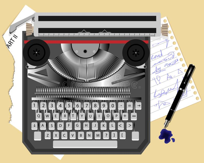 Old typewriter and pen. Old typewriter, pen and leaflets with text vector illustration