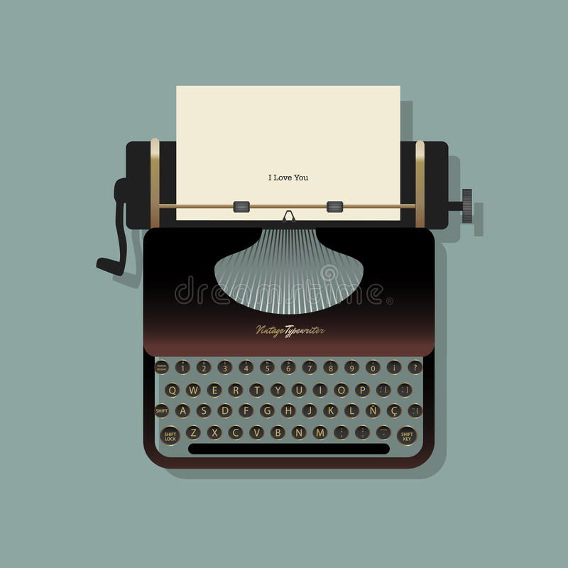 Old typewriter with a sheet of paper and a written message stock illustration
