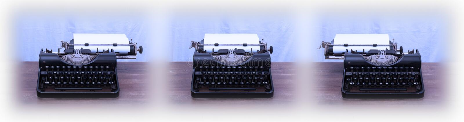 Old typewriter on wooden table. Series of three royalty free stock images