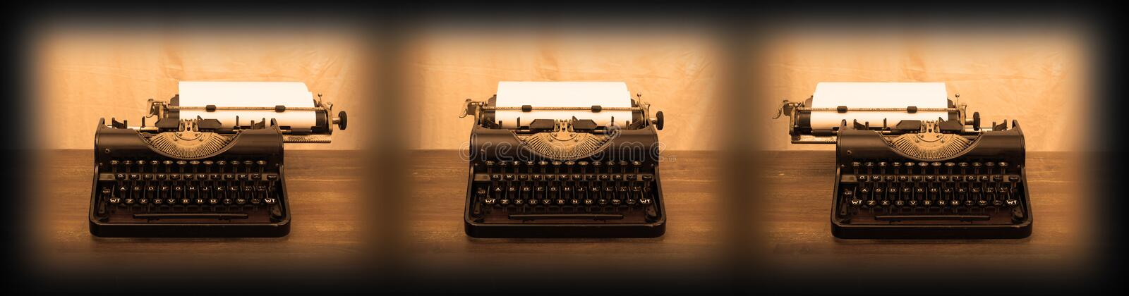 Old typewriter on wooden table. Series of three stock photo