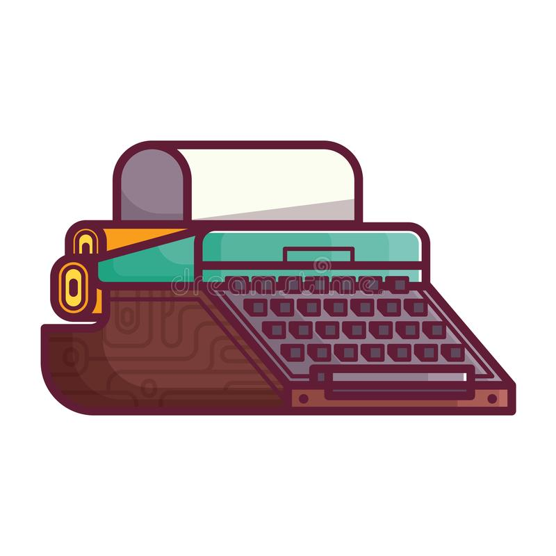 Old Typewriter or Writing Machine Icon royalty free illustration