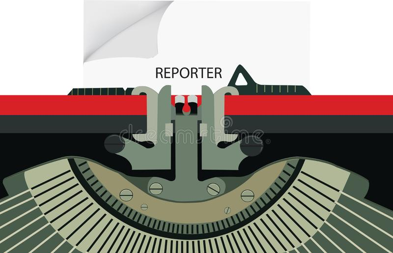 Old typewriter with written reporter stock illustration