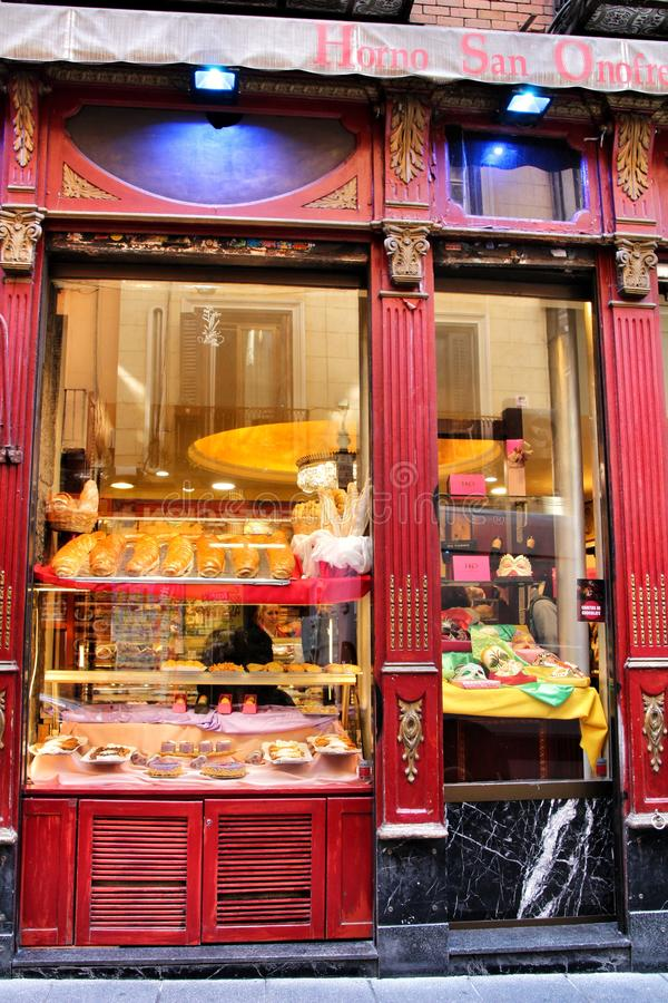 Old typical bakery in the Chueca district of Madrid royalty free stock image