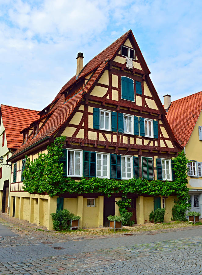 old typical german house timber framing with vines