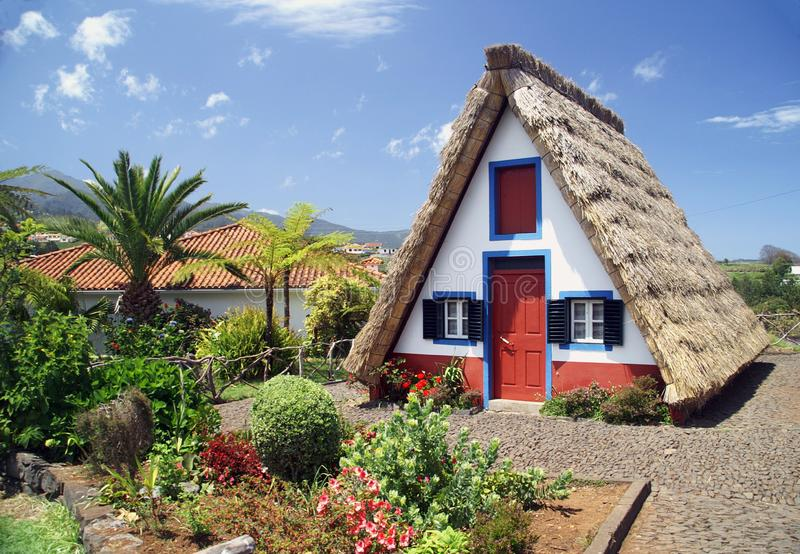 Madeira`s typical house stock photography