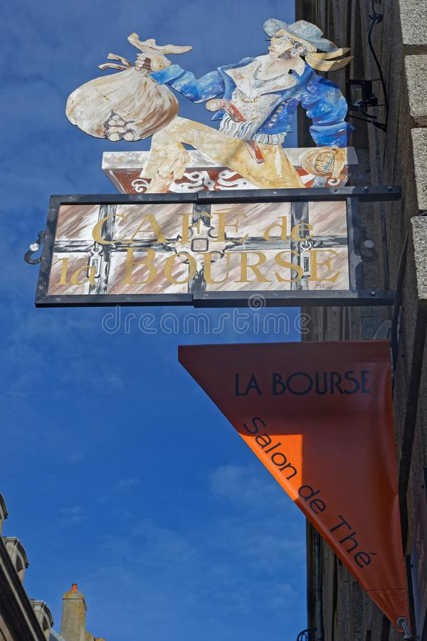 Old typical restaurant sign in the streets of Saint-Malo royalty free stock image