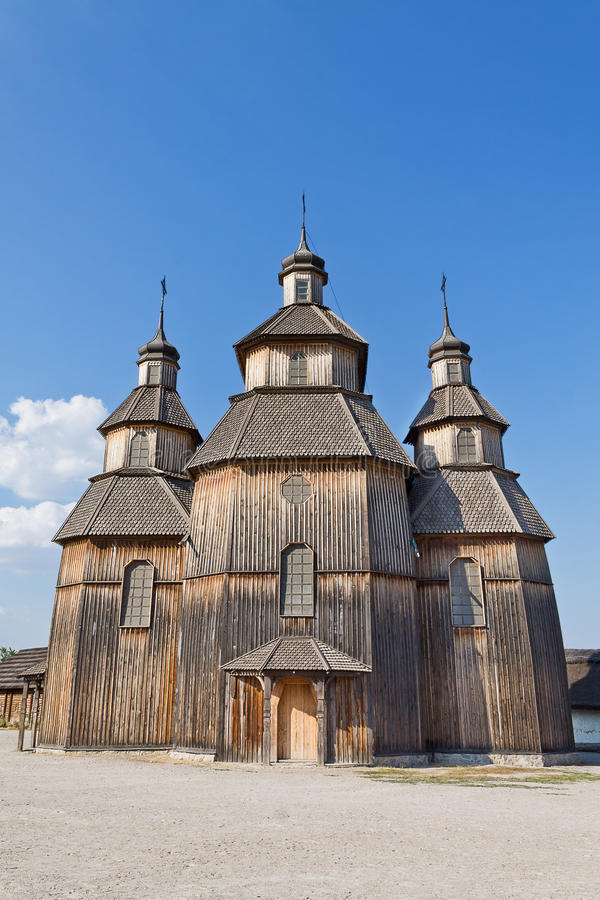 Old Ukrainian church. Temple of the Virgin cover in the Zaporozhye Sech. vertical image royalty free stock photography