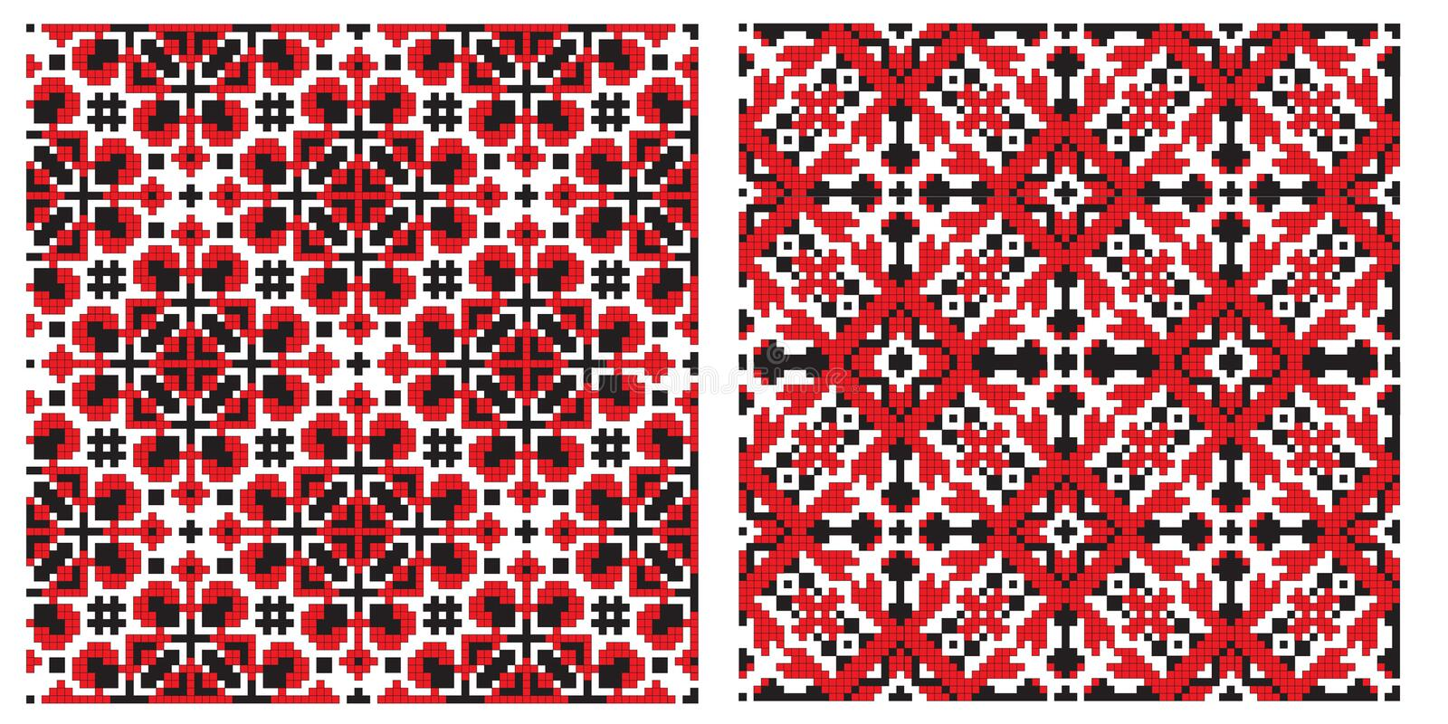 Old ukrainian embroidery texture. There is a scheme of ukrainian pattern for embroidery royalty free illustration