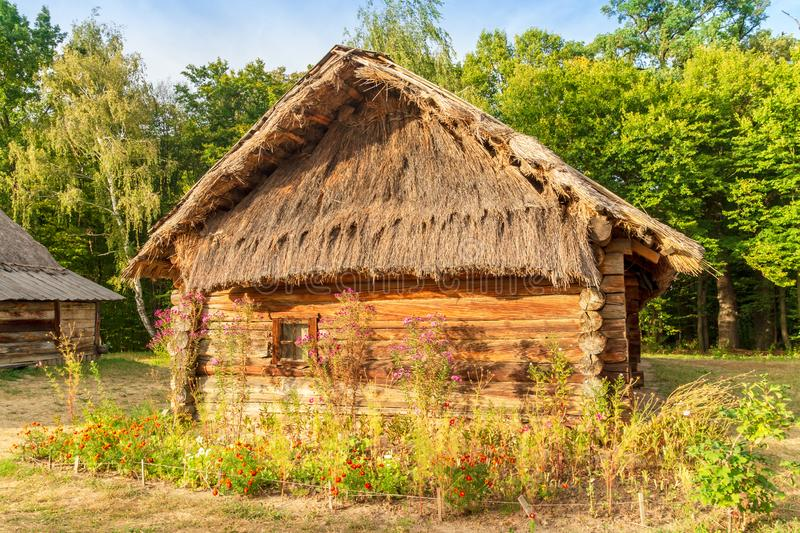 Old Ukrainian house this is hut of the nineteenth century in Village Pirogovo. Old Ukrainian house this is hut of the nineteenth century is located in Village stock images