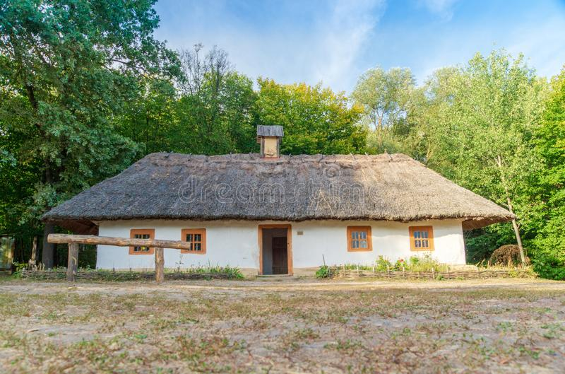 Old Ukrainian house this is hut of the nineteenth century in Village Pirogovo. Old Ukrainian house this is hut of the nineteenth century is located in Village stock image