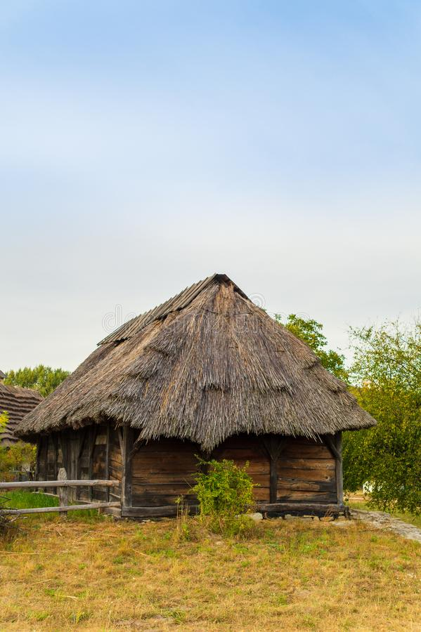 Old Ukrainian house this is hut of the nineteenth century in Village Pirogovo. Old Ukrainian house this is hut of the nineteenth century is located in Village royalty free stock photo