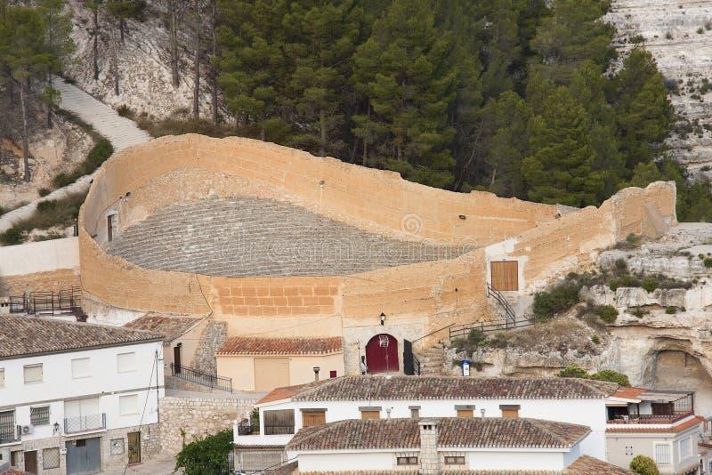 Alcala del jucar bullring. Old and uncommon bullring located in alcala del jucar, spain royalty free stock photo