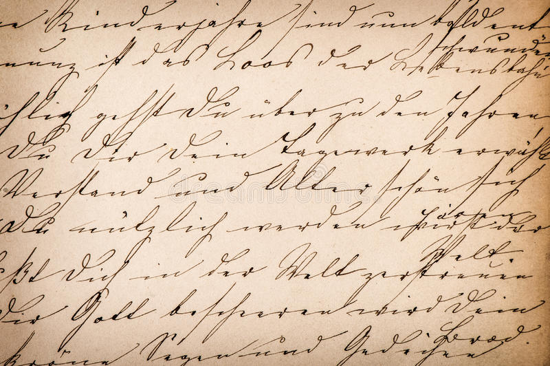 Old undefined abstract handwritten text. Paper texture background stock photography