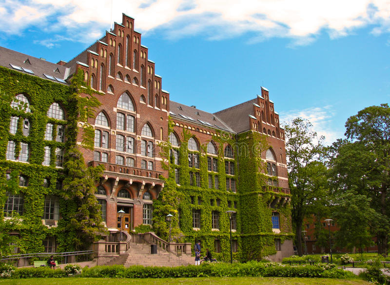 Old university building in Lund stock photos