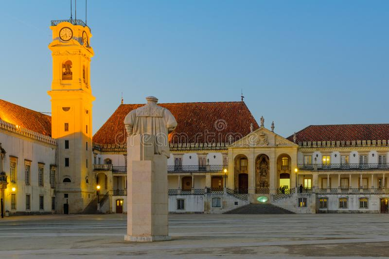 Old university courtyard in Coimbra. Sunset view of the old university courtyard in Coimbra, Portugal stock images