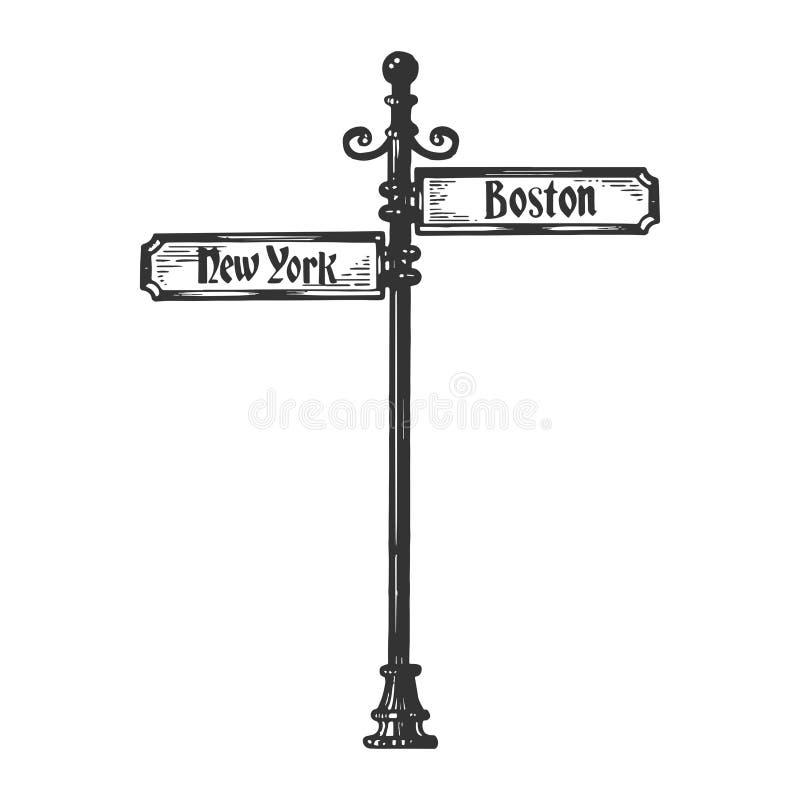 Old urban road signpost engraving vector stock illustration