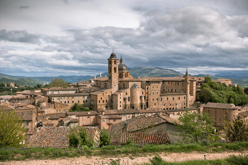 Old Urbino, Italy, Cityscape at Dull Day. Horizontal toned and vignetted image stock photography