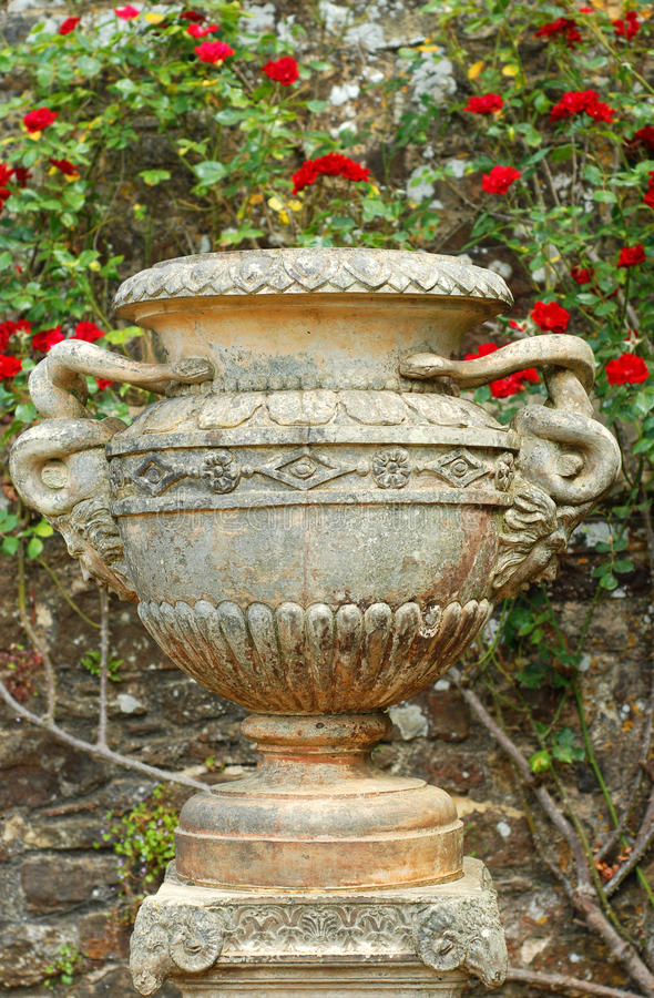 Old urn vase. Closeup of Old urn vase with roses in background royalty free stock photography