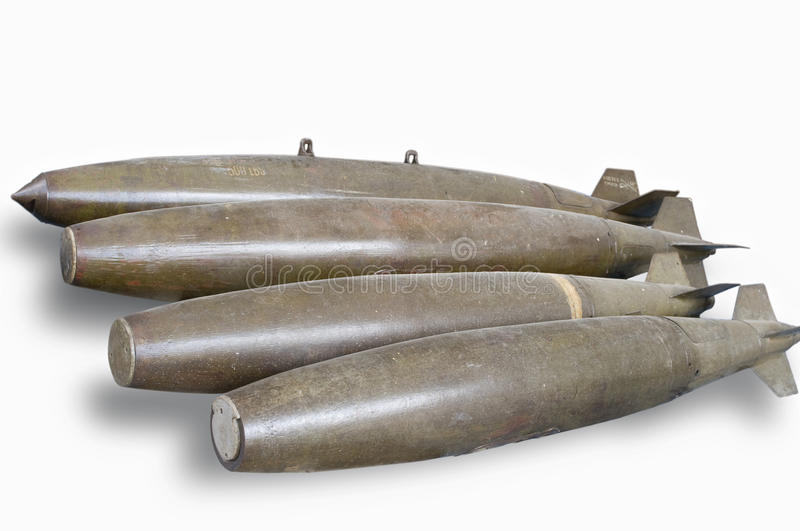 Old US bombs. Picture of old dumb (not guided) bombs. Note: PNG or isolated image is available upon request stock photography