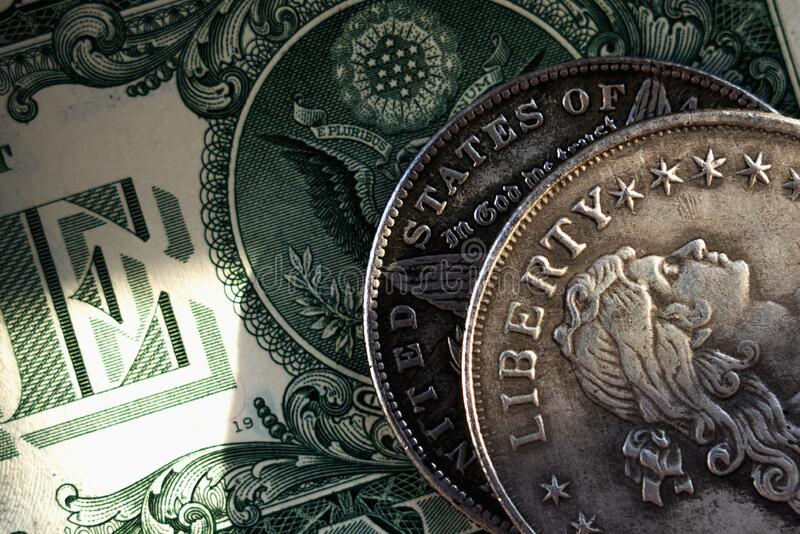 Old US coins with inscription: Liberty with one Dollar bill as symbol: America - the land of opportunities and freedom stock photography