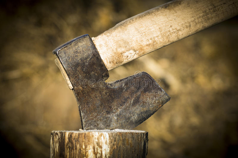 Old used axe in wood stock images