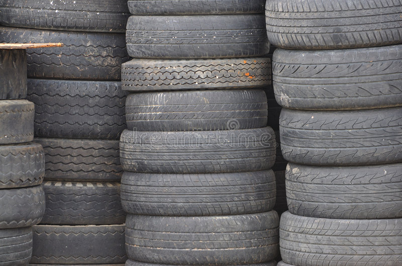 Old used car tires royalty free stock photo