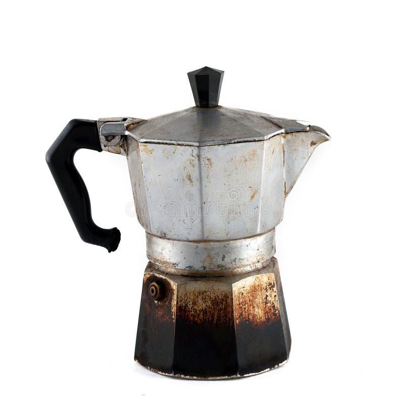 Old used coffee moka isolated on white background royalty free stock images