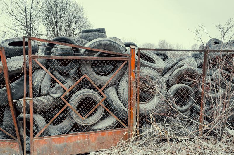 Old used damaged car tires at the dump royalty free stock images