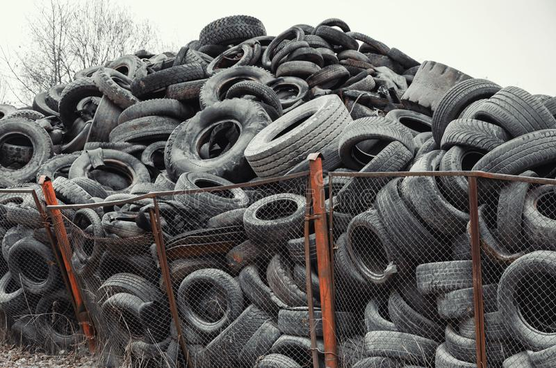 Old used damaged car tires at the dump royalty free stock image