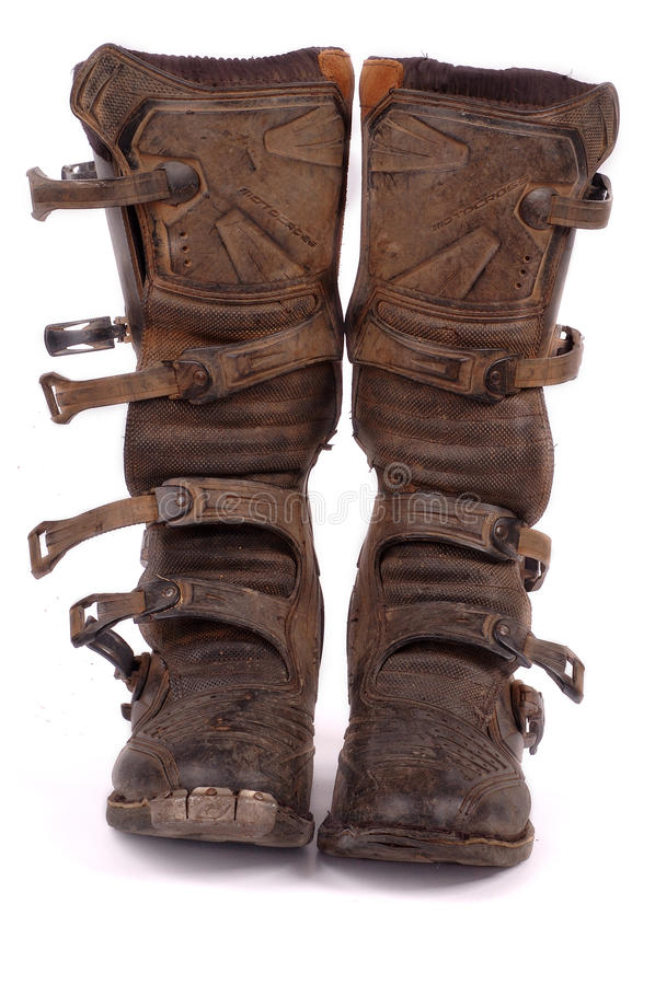 Dirty Motocross Boots Stock Images