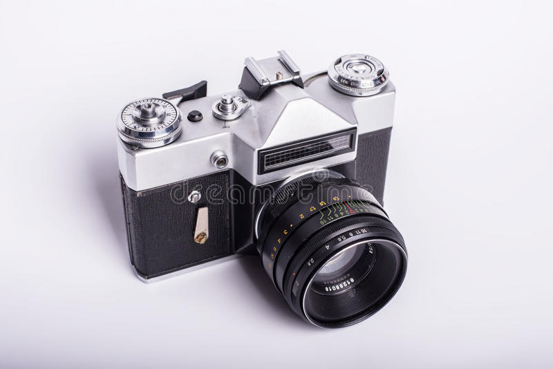 Old used dirty old-fashioned film photocamera royalty free stock image