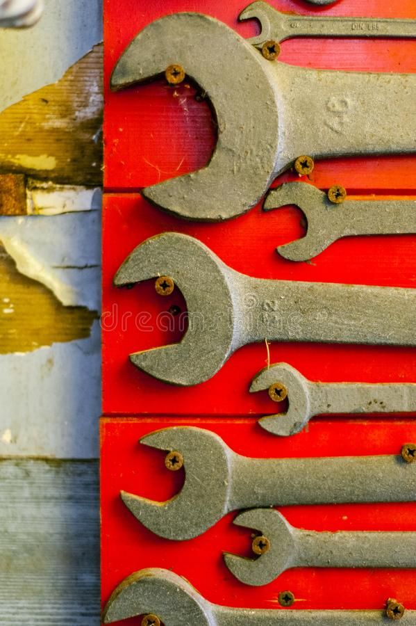 English keys on red background. Old and used english keys on red background stock images